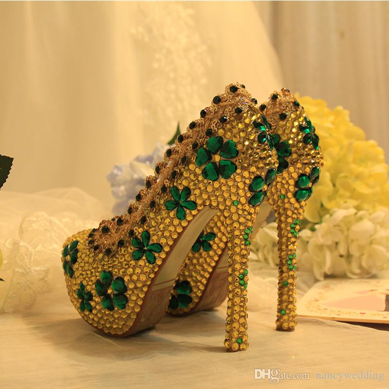 2c71f2b0e7e 2017 Newest Designer Gold Color Green Flowers Rhinestone Shoes Fashion  Stiletto Crystal High Heels Party Prom Cinderella Nightclub Women
