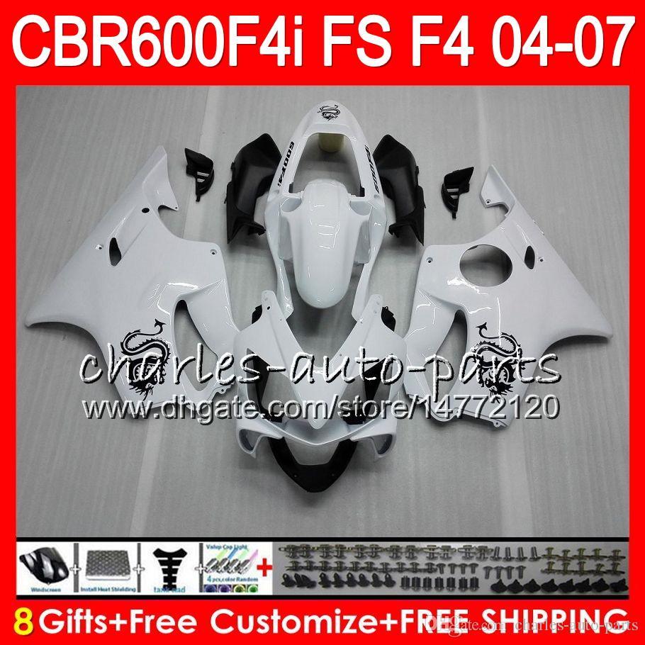 8Gifts For HONDA CBR 600 F4i CBR600F4i 04 05 06 07 AAHM8 CBR600FS FS Dragon white CBR600 F4i CBR 600F4i 2004 2005 2006 2007 Fairing
