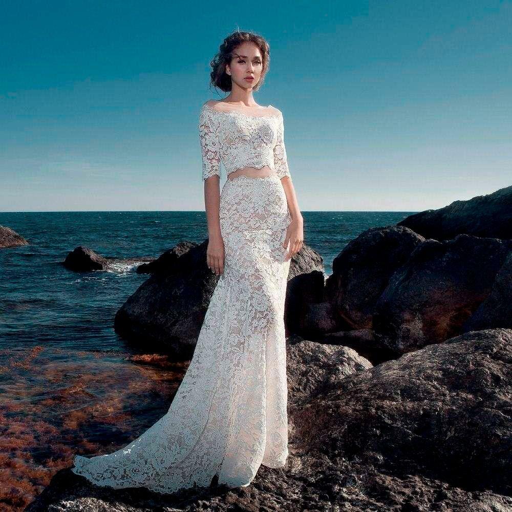 Discount Trouwjurk Beach Half Sleeve Wedding Dresses 2017 Robe De ...