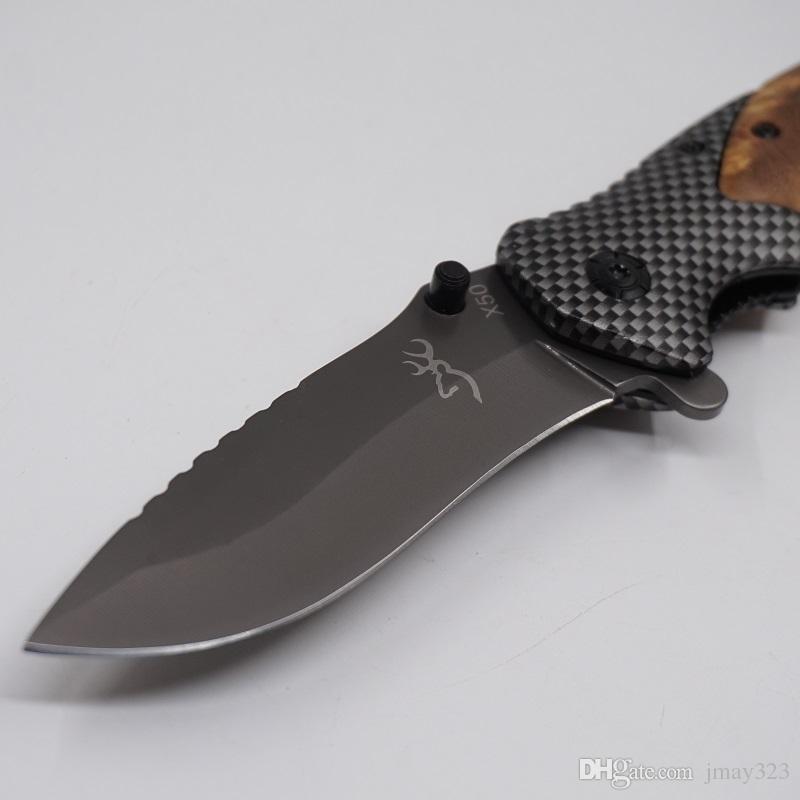 En iyi Survival Bıçaklar Katlanır Taktik Çakı 440C Çelik Bıçak Ahşap Saplı Kamp Yürüyüş Avcılık Bıçak EDC Çok Araçları Kahverengi X50