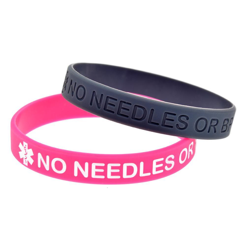 Vente chaude Aucune aiguille ou BP dans ce bras Bracelet en Silicone Encre Rempli Logo Bracelet Taille Adulte