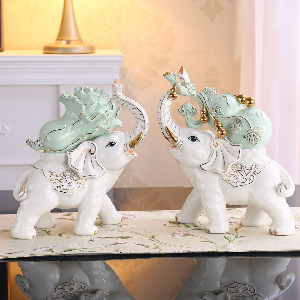 2018 Ceramic Lucky Gourd Cabbage Large Elephant Ornaments Home  # Muebles Lady Lucky