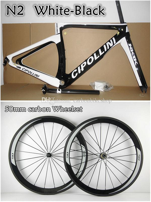 White-Black road bike 50mm carbon wheels+T1000 3K/1K Cipollini NK1K carbon road frames with XXS/XS/S/M/L BB30/BB68