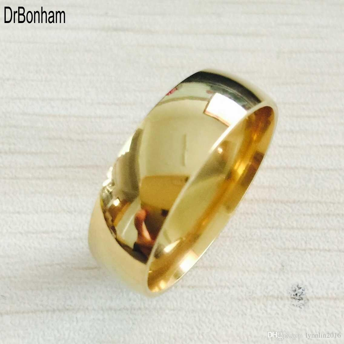 Classic Wide 8mm Men Wedding Gold Rings Real 18k Gold Filled 316l Titanium Finger Rings For Men