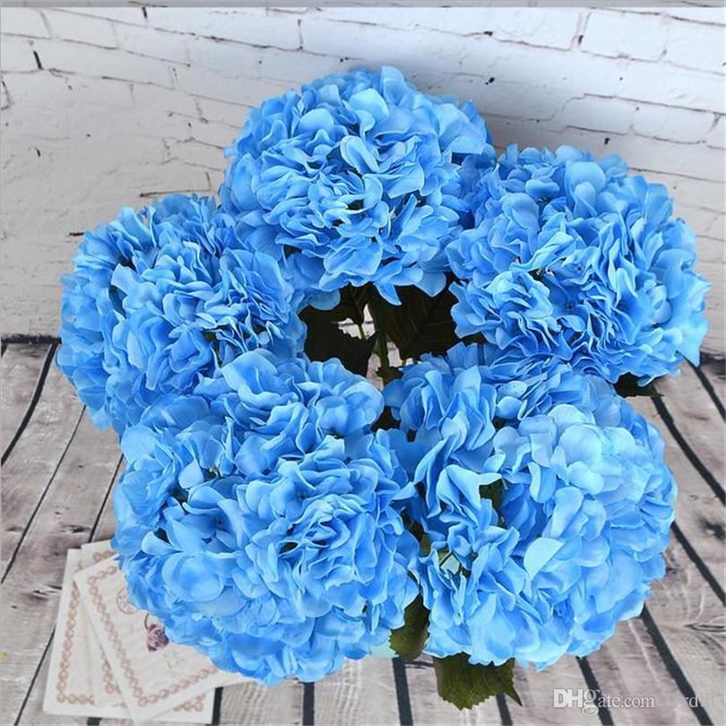 Fake Single Stem Round Hydrangea 65 Cm 2559 Length Large Flower Head Artificial Flowers Hydrangeas For Home Showcase Display