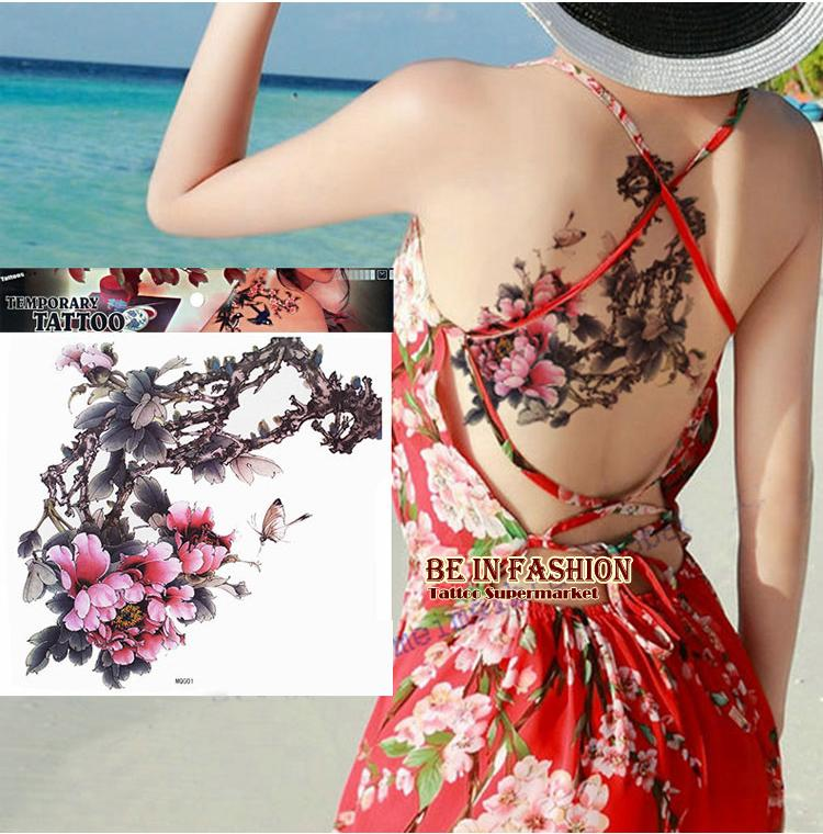 2016 large color Plum flower Tones designs Temporary tattoo stickers body/back painting MQG01 drawings Waterproof sex women