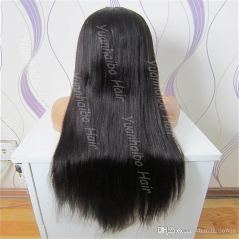 Top Sale 8A quality natural hairline human hair wig 130 density malaysian virgin hair wig silky straight lace front wig with baby hair