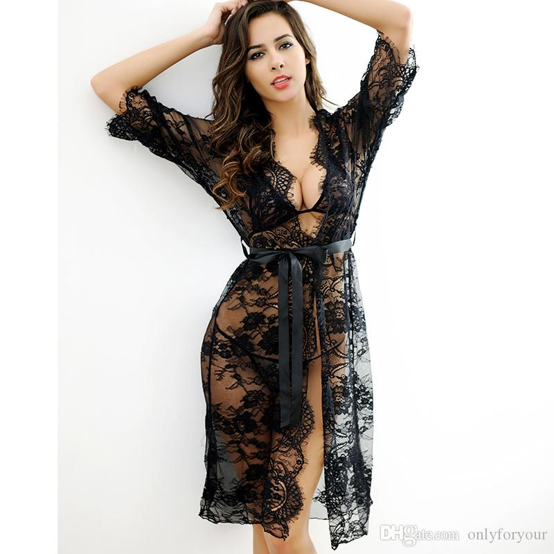 Bathrobe Lingerie Sexy Hot Erotic Nightie Set Pyjamas Women Exotic Apparel Sexy Underwear Women Thongs and G Strings White Black Pink
