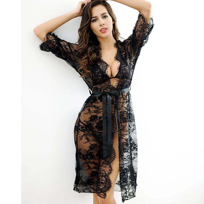 Roupão de Lingerie Sexy Hot Erotic Nightie Set Mulheres Pijama Vestuário Exótico Sexy Underwear Mulheres Tangas e Cordas G Branco Preto Rosa