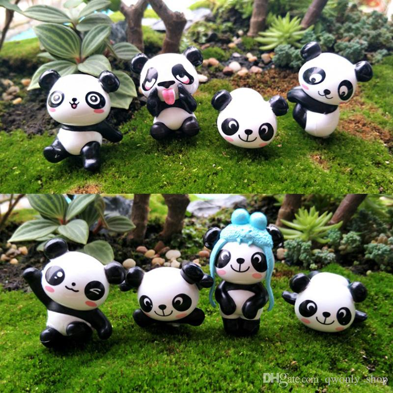 8 pz / lotto Mini Panda Bear Fairy Garden Miniature per Terrari Resina Figurine Ornamento Paesaggistico Materiale Jardins In Vaso Decor