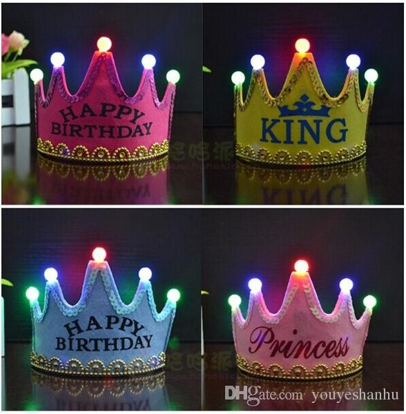 2017 Light Star Birthday Party Prince Princess King Crown Cap For