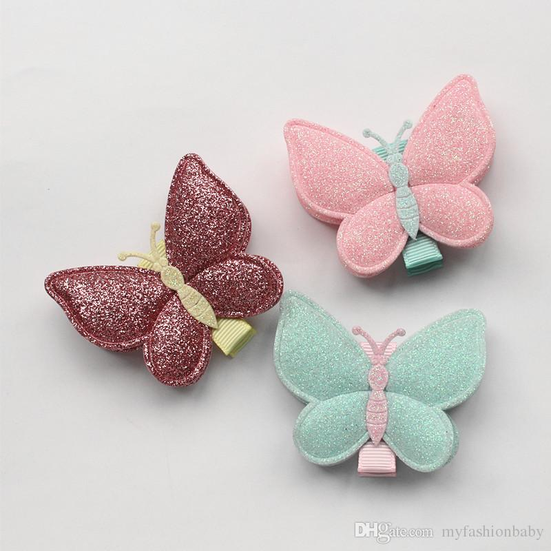 36pcs Glitter Butterfly Double Layers Synthetic Leather Design Kids Hairpins Handmade Hair Clips Lovely Bowknot Accessories