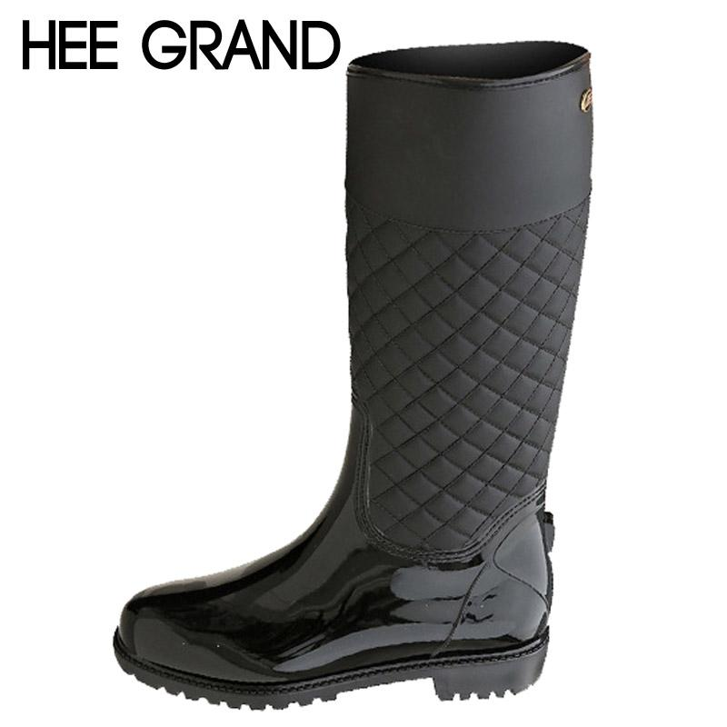 9bd92610d Wholesale HEE GRAND Rain Boots Rubber Platform Shoes Woman 2016 Knee High  Women Boots Casual Creepers Slip On Flats Women Shoes XWD4579 Over Knee  Boots ...