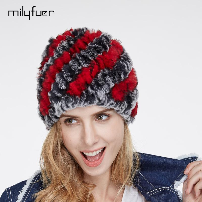 65bdbaac58585 Wholesale Milyfuer Real Rex Rabbit Fur Hats Female Hair Fashion Fur Caps  Autumn Winter Keep Warm Ear Cycling Cap Knitted Hat For Women Cap Winter Hat  Cool ...