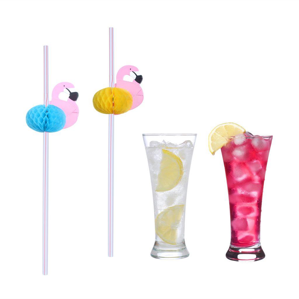 Flamingos Canudos De Papel Bebida Decoração Prop Mesa Decoração Para O Casamento Do Aniversário Do Partido Decorativo Papelão Tecido Flexi-Palha