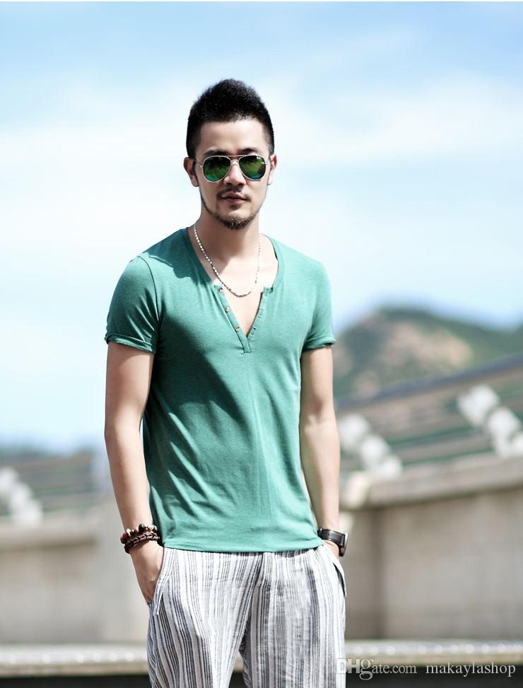 3da76651863 Plus Size S - XXL mens t shirts fashion new casual short sleeve V neck  cotton men t shirt brand print T-Shirts Tops