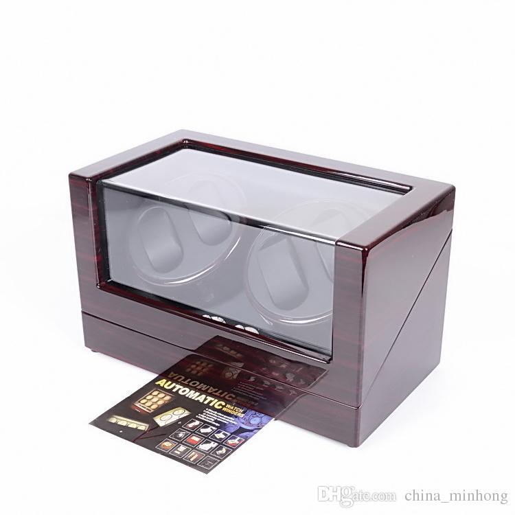 Deux moteur muet noir ébène rouge piano peinture bois 4 montre enrouleur affichage boîte de montre automatique pour quatre montres automatiques