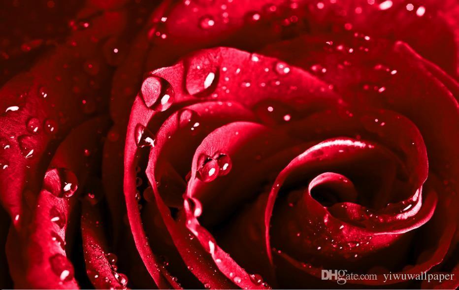 Belle eau rouge gouttes roses murales 3d papier peint 3d papiers peints pour toile de fond tv