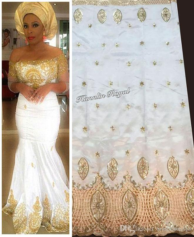 2018 white gold 5 yards african george lace swiss fabric for Georges chakra gold wedding dress price