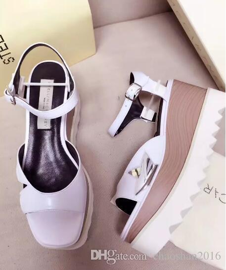 005cfbf43f6 Compre Nuevas Sandalias De Mujer Elyse Stella Mccartney Scarpe Zapatos De  Cuero Genuino Negro Con Suela Blanca Tamaño De La Plataforma  35 39 Shipp  Gratis A ...