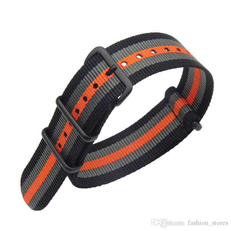 Stripes Fine Quality Nylon Nato Straps Watch Band with PVD Black Rings 18mm 20mm 22mm