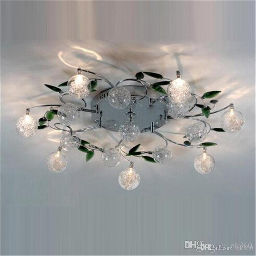 Best Led Ceiling Light Modern Green Leaves Crystal Ball Wiring A Lamp Aluminium Wire For Study Bedroom Living Room Dining Under