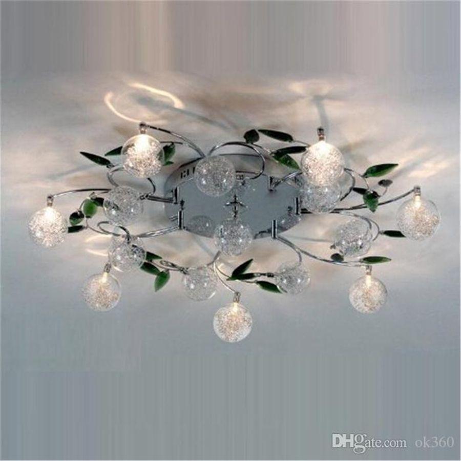 Best Led Ceiling Light Modern Green Leaves Light Crystal Ball ...