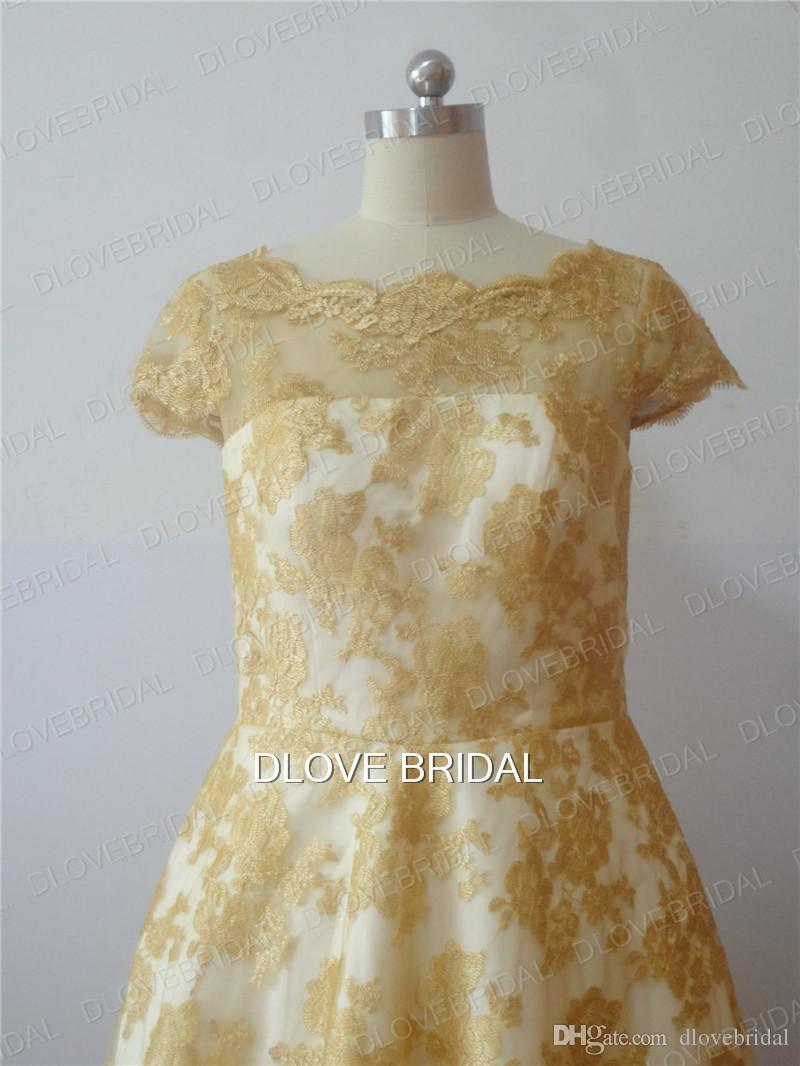 High Quality Vintage Short Sleeve Lace Wedding Dress Gold Ivory A Line Tea Length Custom Made Detachable Belt Sash Bridal Gowns Real Photo