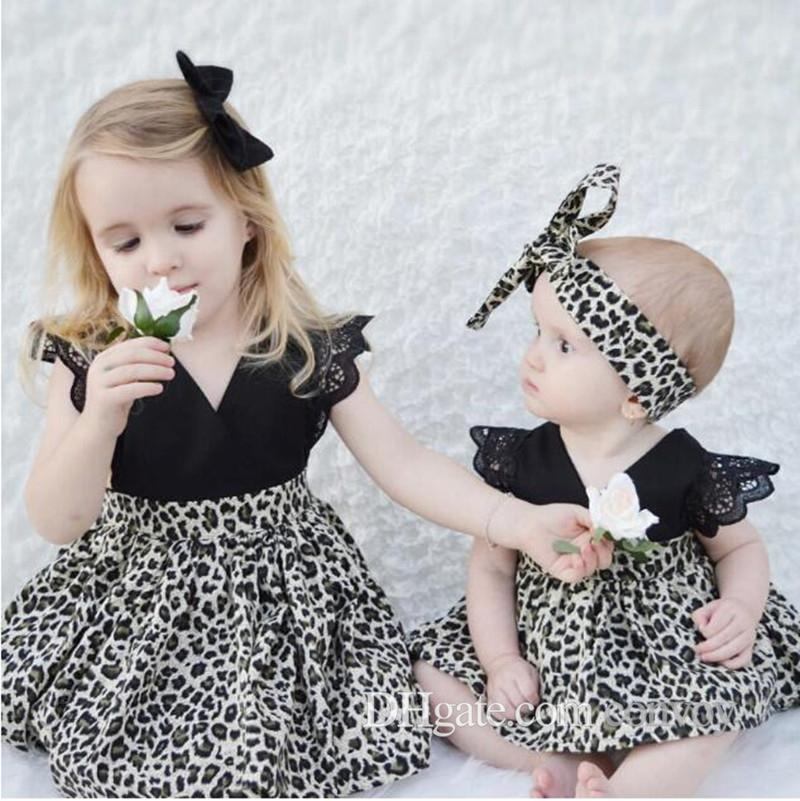 67fa8c292c Baby Girls Summer Leopard Print Dresses Kids Hair Bow Clip +lace Sleeve Dress  Little Sisters Matching Black Romper Infant Cloth FOC04 Baby Girls Sisters  ...