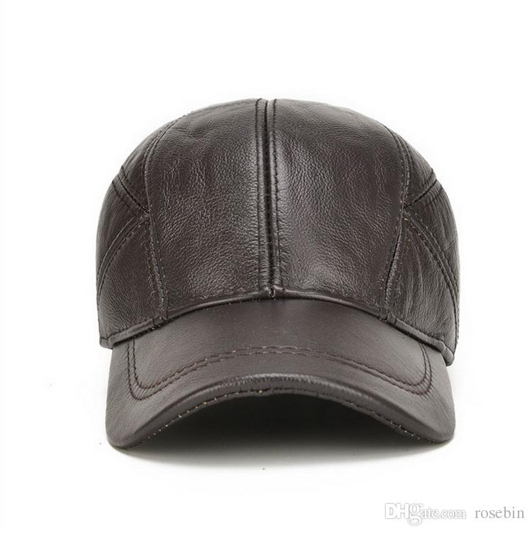 525a5327e5c New Leather Cap Layer Of Leather Baseball Cap In Autumn And Winter Outdoor  Mens Tourist Caps Custom Fitted Hats Design Your Own Hat From Rosebin