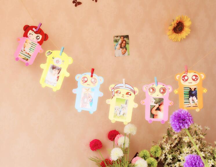 hotsale home decorations 3 inch cute cartoons wall hanging paper photo frame picture album kraft paper card holder wooden clip rope