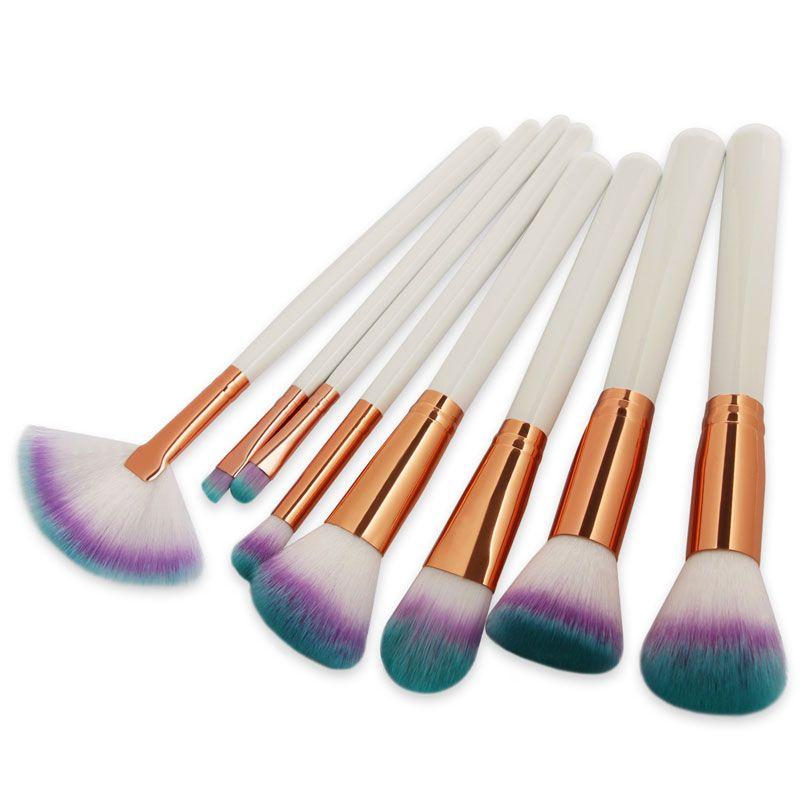 8 UNIDS / SET Pinceles de Maquillaje Set sombra de ojos plana superior suelta Powder Sombra de ojos Eyebrow Eye Socket Foundation Blending Cosmetic Make Up Brush Tools