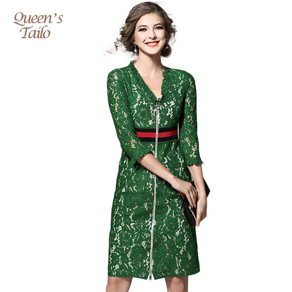 Solid Green Runway Woman Dress 2017 Spring Midi Pencil Dress Woman OL Work Lace Robe Femme q170661
