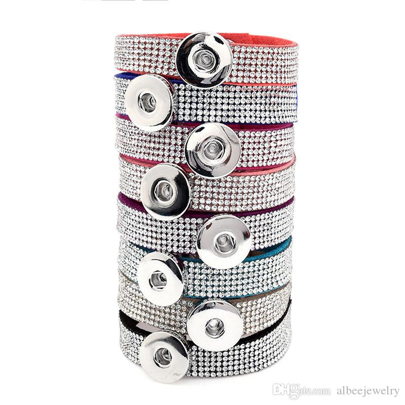 Mix Colors Fashion Luxury Full Crystal Rhinestone Noosa Chunks Bracelet Fit 18mm Snap Buttons Bangle Unisex Jewelry