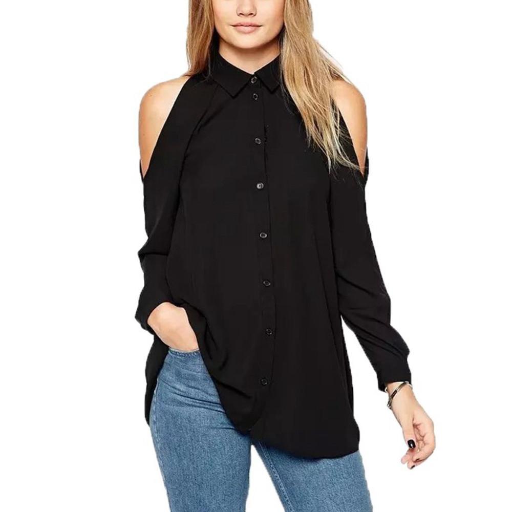 66d8808c38b29c Plus Size Zanzea 2016 Women Sexy Off Shoulder Long Chiffon Blouse Turn Down  Collar Blusas Femininas Long Sleeve Tops Shirt High Quality Shirts Cheap  China ...