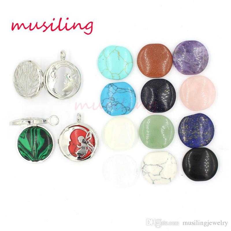 Ajur Melek Peri ve Ay Madalyon Kolye Doğal Taş Taş Kolye Ametist Opal vb Taş Boncuk Charms Moda Takı Kadınlar için