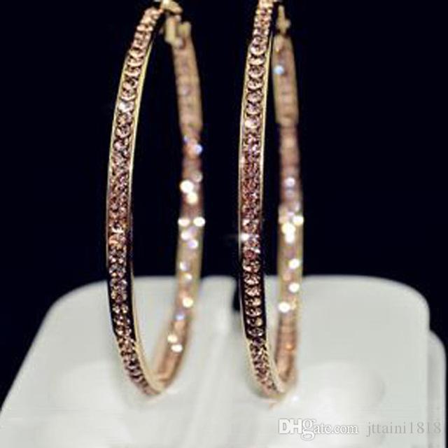 2017 TOP pendientes populares Con círculo de diamantes de imitación Pendientes simples aro de círculo grande de color oro aretes para las mujeres E005