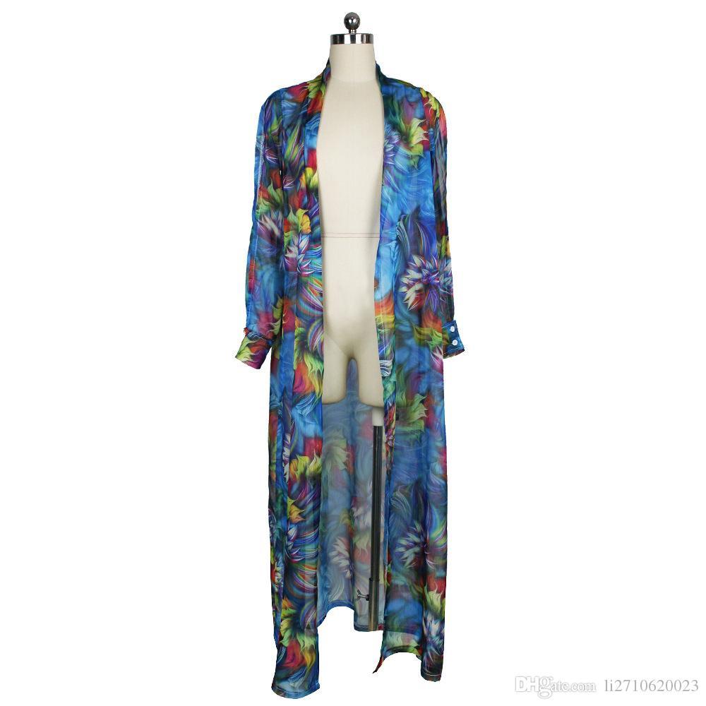 Été femmes Blouses mode cardigan à manches longues cape manteau Ms impression maillot de bain en mousseline de soie Cover Ups Lady Sexy longues chemises tops robe de plage