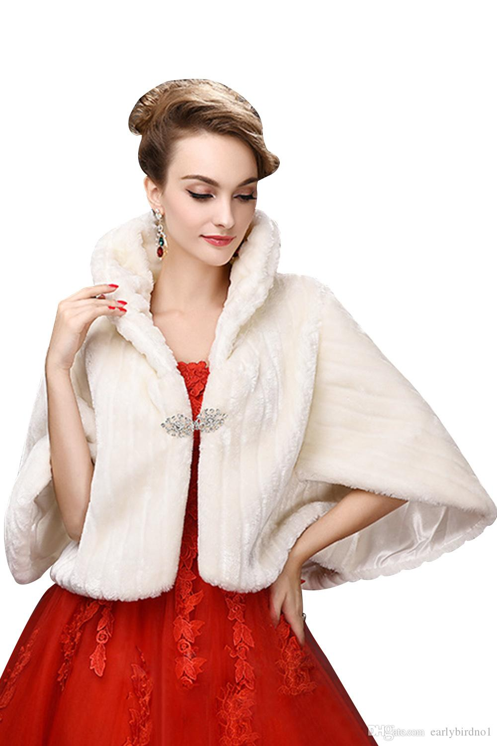 2018 Wholesale Winter Cheap Fake Faux Fur Wedding Jackets Long Sleeves High Neck Wedding Shawl Bolero For Wedding Special Occasions CPA971
