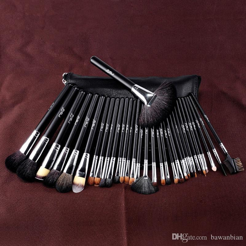 전문 메이크업 동물 머리 양모 화장품 브러쉬 세트 화장품 브러쉬 및 PU 허리 팩 메이크업 브러쉬 가방 도구