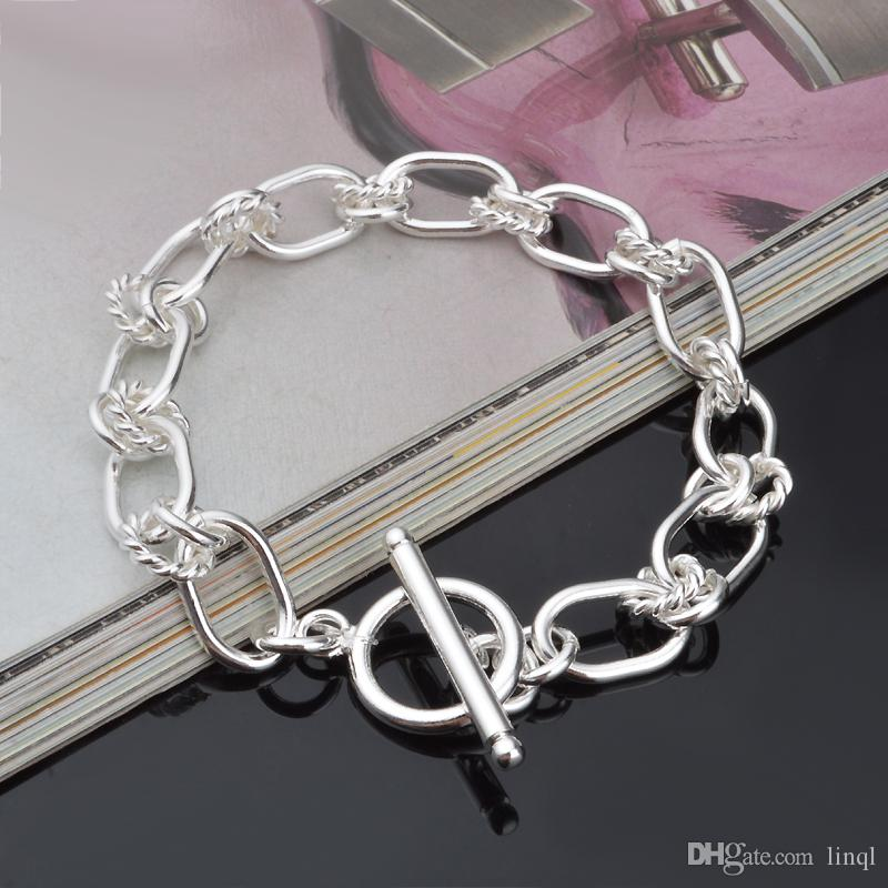Hot 925 sterling silver chain bracelet 9MM X21CM cool street style fashion jewelry Christmas gifts low price