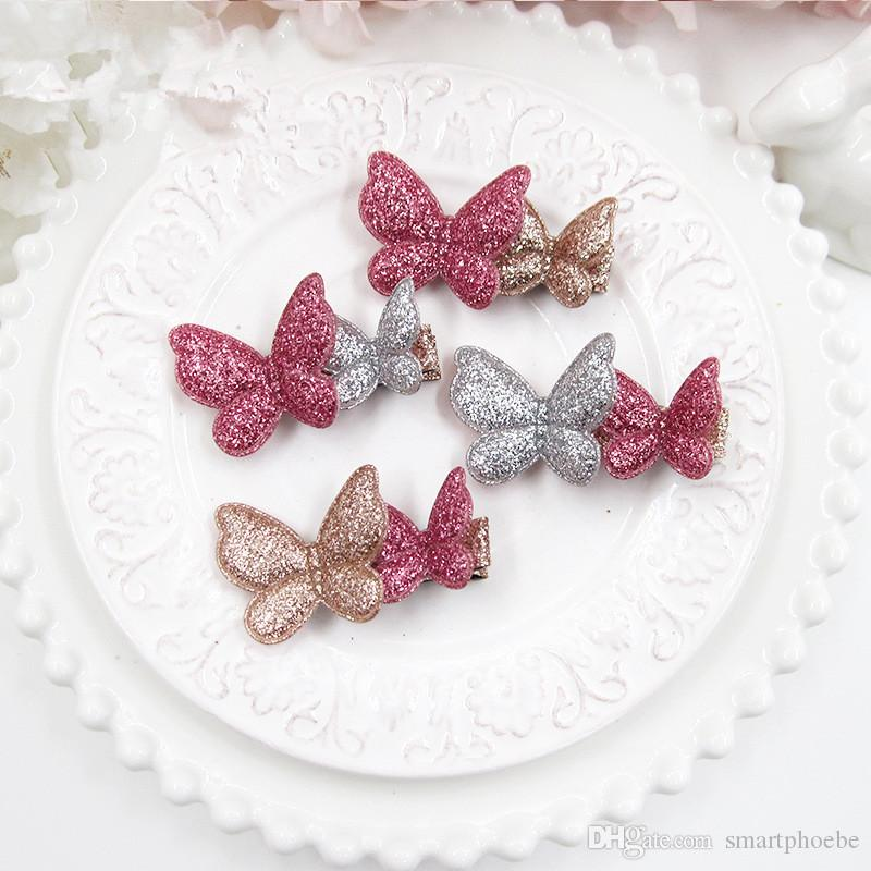 Boutique 20pcs/lot Solid Glitter Assorted Colors Cute Butterfly Baby Girls Hairpin Fashion Girls Hairclip Baby Hair Accessories