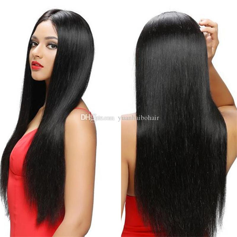 30inch extra long human hair high quality 1b silk straight virgin brazilian front lace wig free shipping