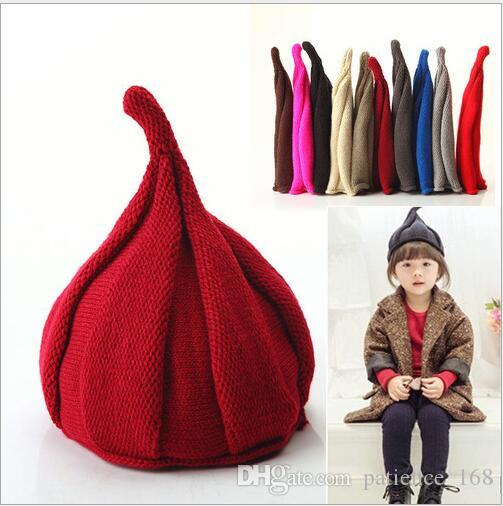 16 colors Korean styles New arrivals windmill woolen hat Children Handmade winter warm boy girl Pointy hat Knitted Hat free shipping