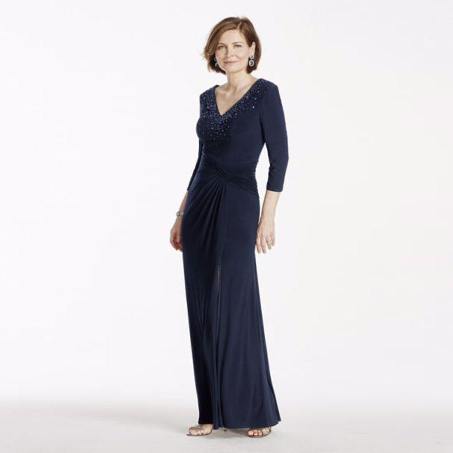 3 4 Sleeve Long Jersey Dress With Beaded Bodice Dark Blue Sexy