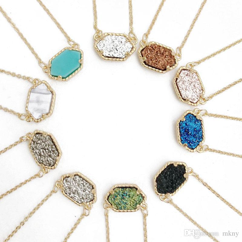 Wholesale drusy hexagon pendant necklace druzy oval necklaces gold wholesale drusy hexagon pendant necklace druzy oval necklaces gold colour chain fashion brand jewelry for women girls pendants for men jewelry design from mozeypictures Gallery