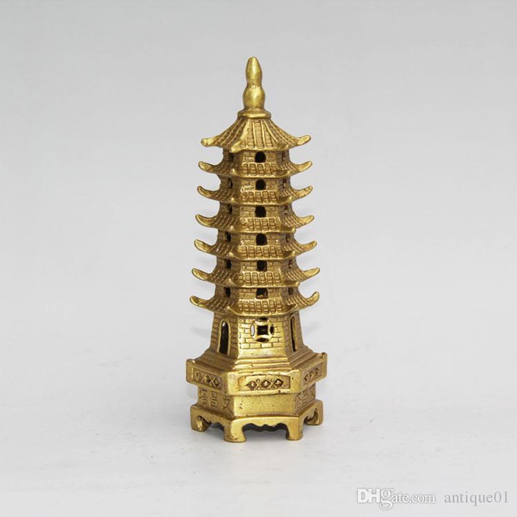 Chinese Feng Shui tibetischen Messing Kupfer Wenchang kleine Turm Buddhismus Pagode Stupa Statue Heimtextilien
