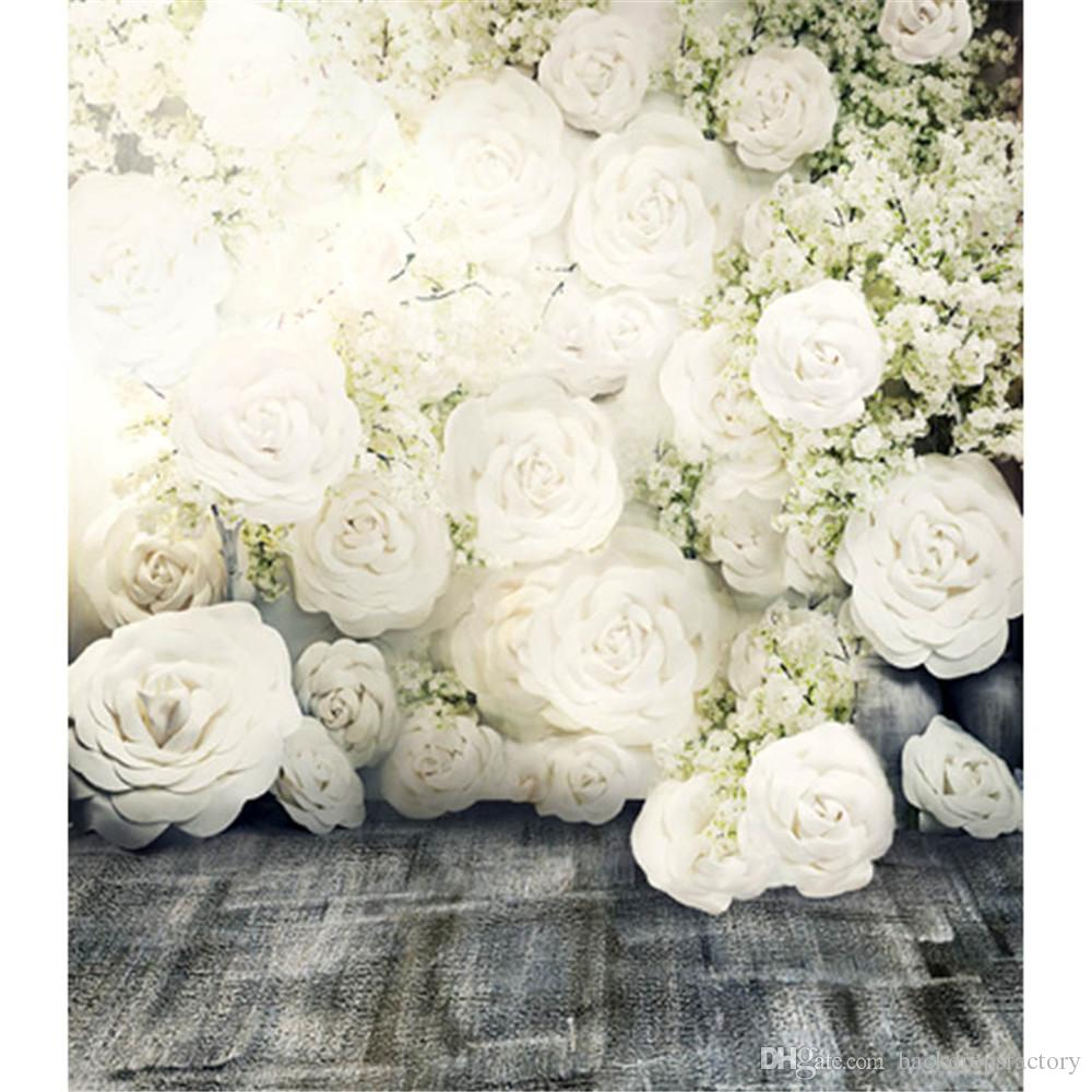 3D White Roses Romantic Flower Wall Backdrop Wedding Dark Floor Photo Studio Wallpaper Vintage Floral Photography Background Fabric 8x10ft