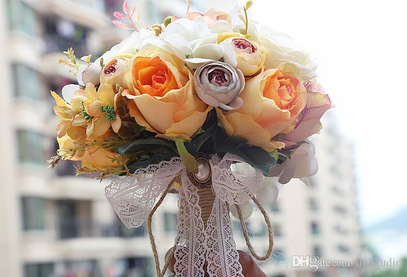 Fairy bridal bouquets high quality hand made flowers with lace fairy bridal bouquets high quality hand made flowers with lace pearls wedding flowers new arrival wedding accessories orange with ivory silk flower mightylinksfo