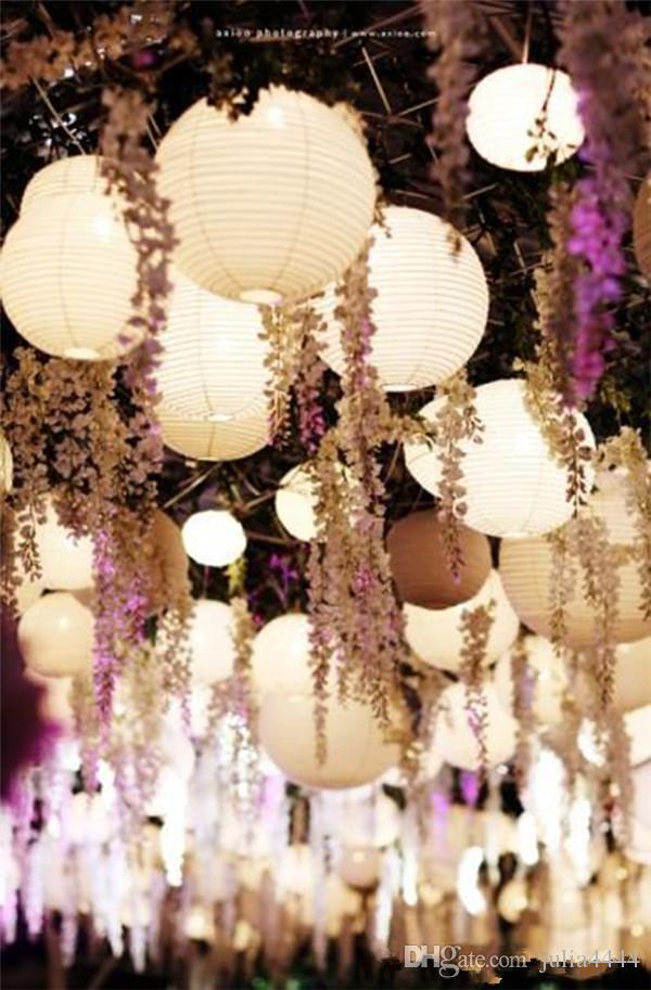 2019 45 '' Glamorous Wedding Ideas Künstliche Seidenblume Glyzinien Rebe Hochzeitsdekorationen 3 Gabeln Pro Stück Mehr Menge Mehr Schön